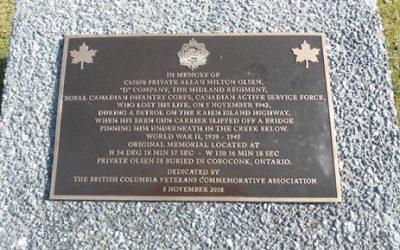 Bronze Commemoration Plaque – Pte Allan Milton Olsen